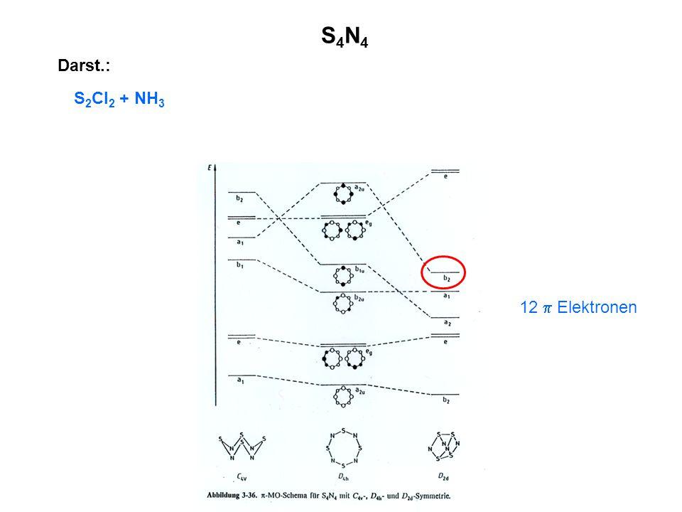 S4N4 Darst.: S2Cl2 + NH3 12  Elektronen