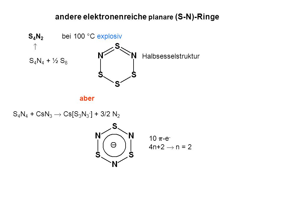 andere elektronenreiche planare (S-N)-Ringe