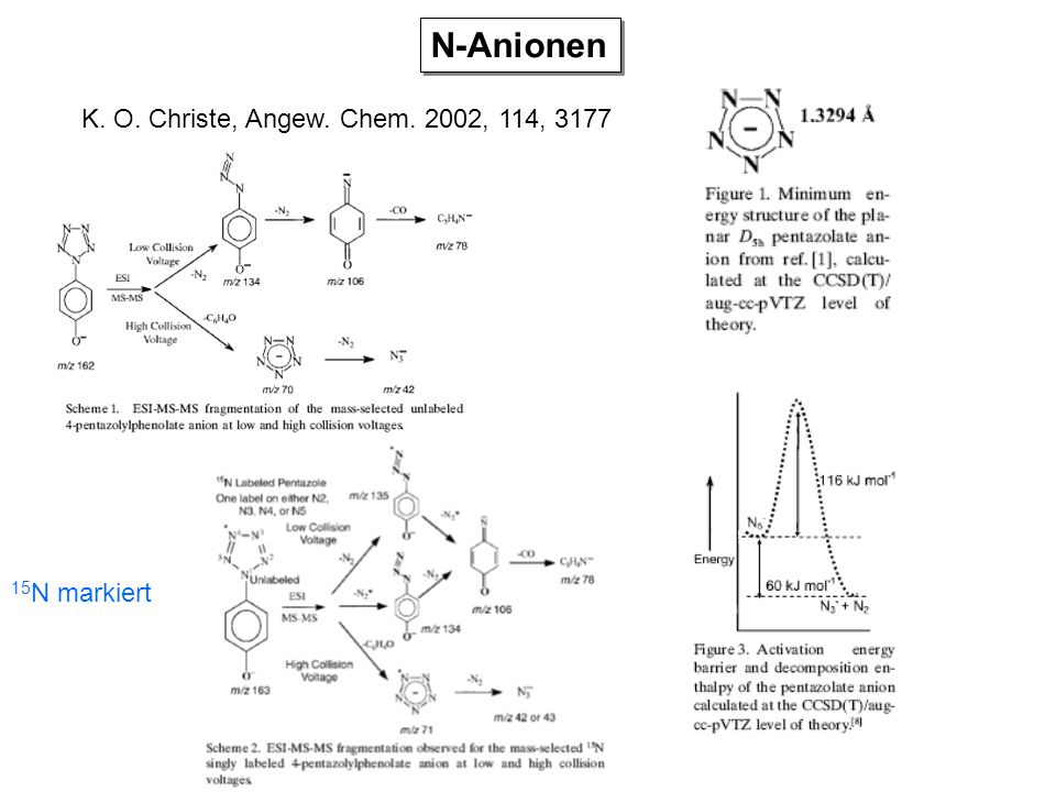 N-Anionen K. O. Christe, Angew. Chem. 2002, 114, 3177 15N markiert