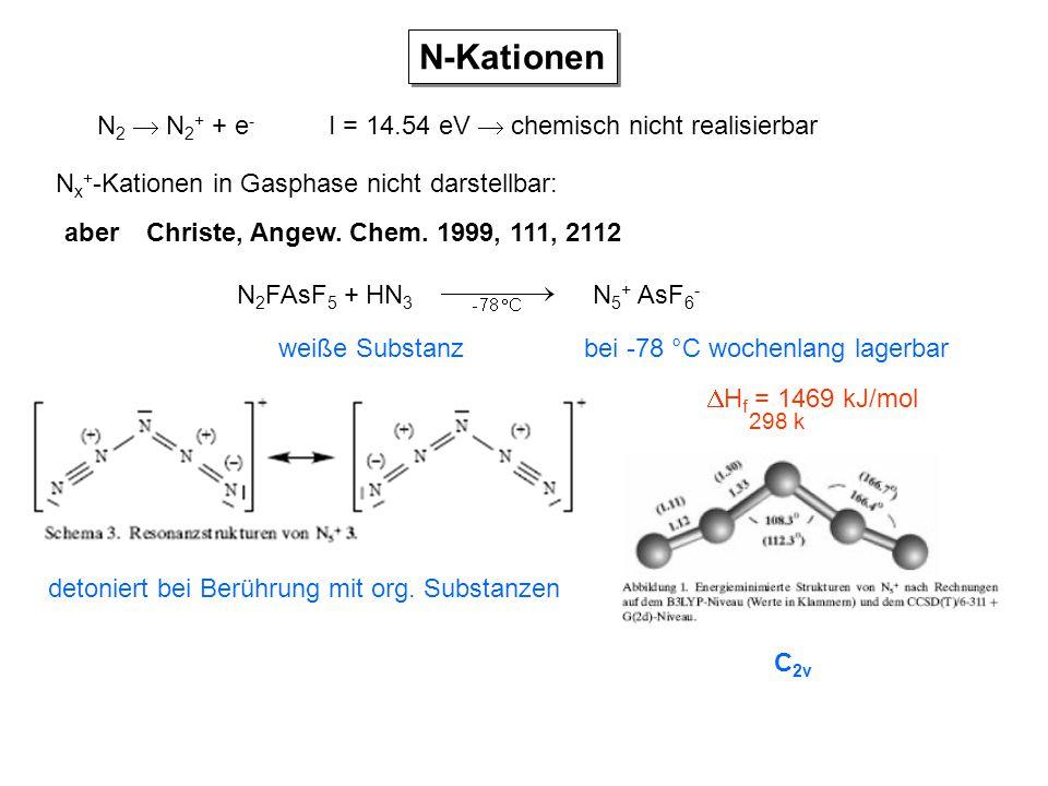 N-Kationen N2  N2+ + e- I = 14.54 eV  chemisch nicht realisierbar