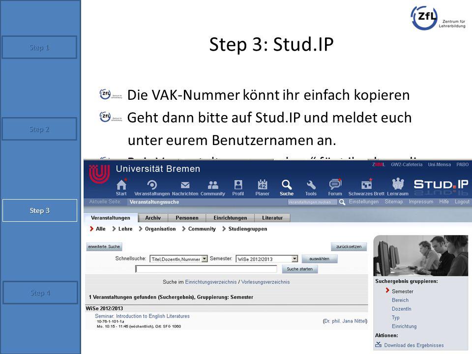 Step 3: Stud.IP Die VAK-Nummer könnt ihr einfach kopieren