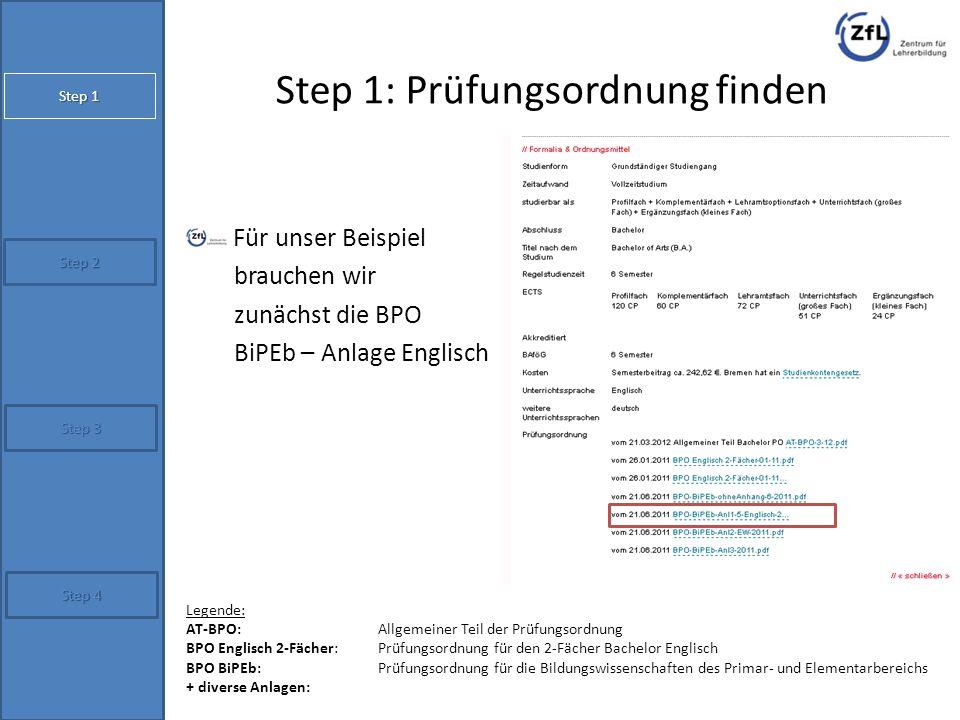 Step 1: Prüfungsordnung finden