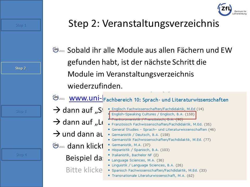 Step 2: Veranstaltungsverzeichnis
