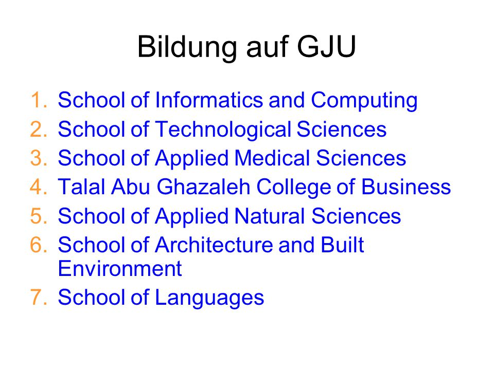 Bildung auf GJU School of Informatics and Computing