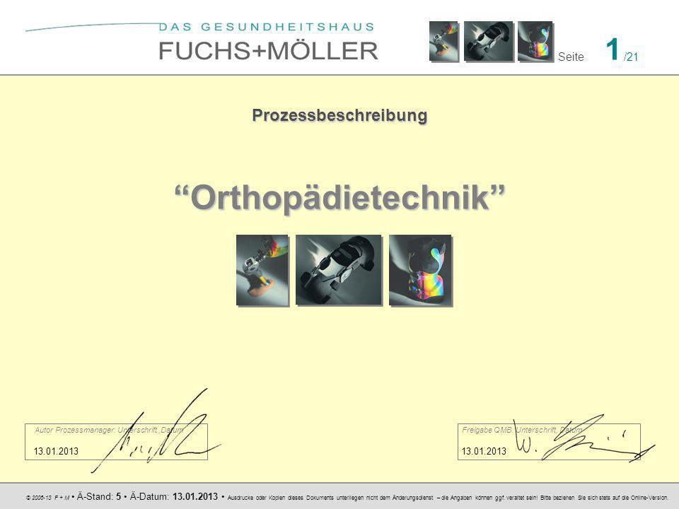 Orthopädietechnik Prozessbeschreibung 13.01.2013 13.01.2013
