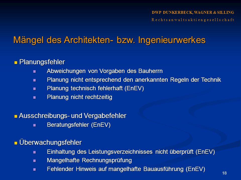 Mängel des Architekten- bzw. Ingenieurwerkes
