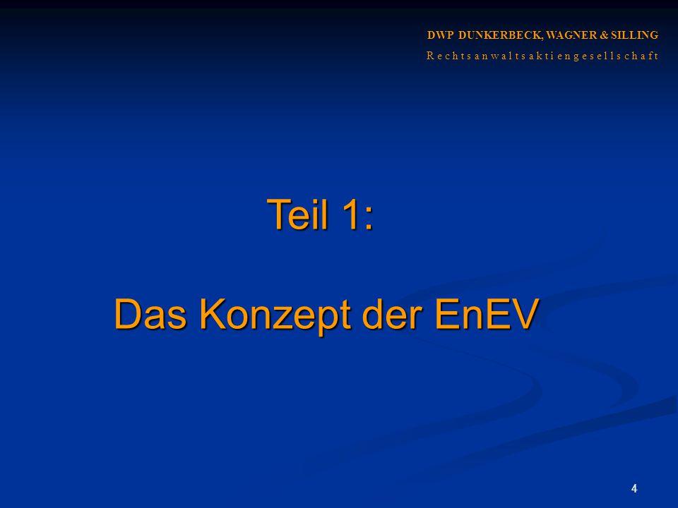 Teil 1: Das Konzept der EnEV DWP DUNKERBECK, WAGNER & SILLING