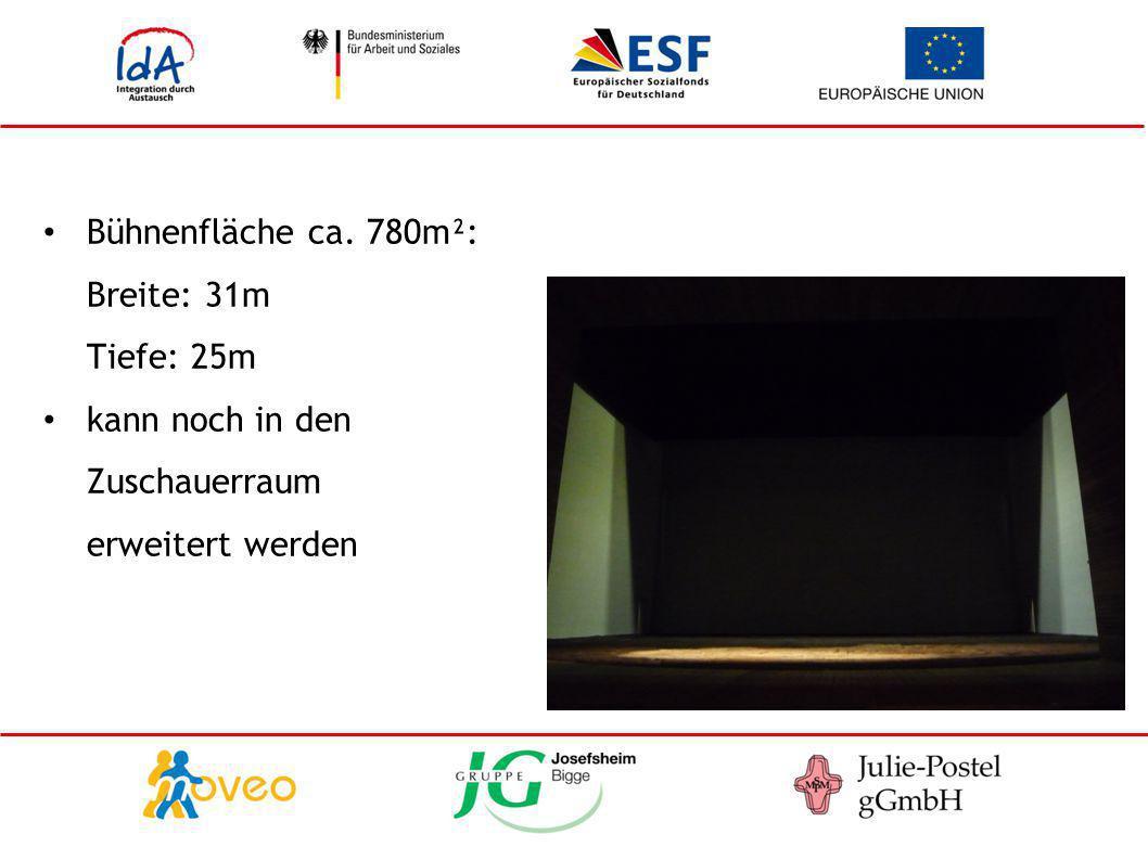 Bühnenfläche ca. 780m²: Breite: 31m Tiefe: 25m kann noch in den Zuschauerraum erweitert werden