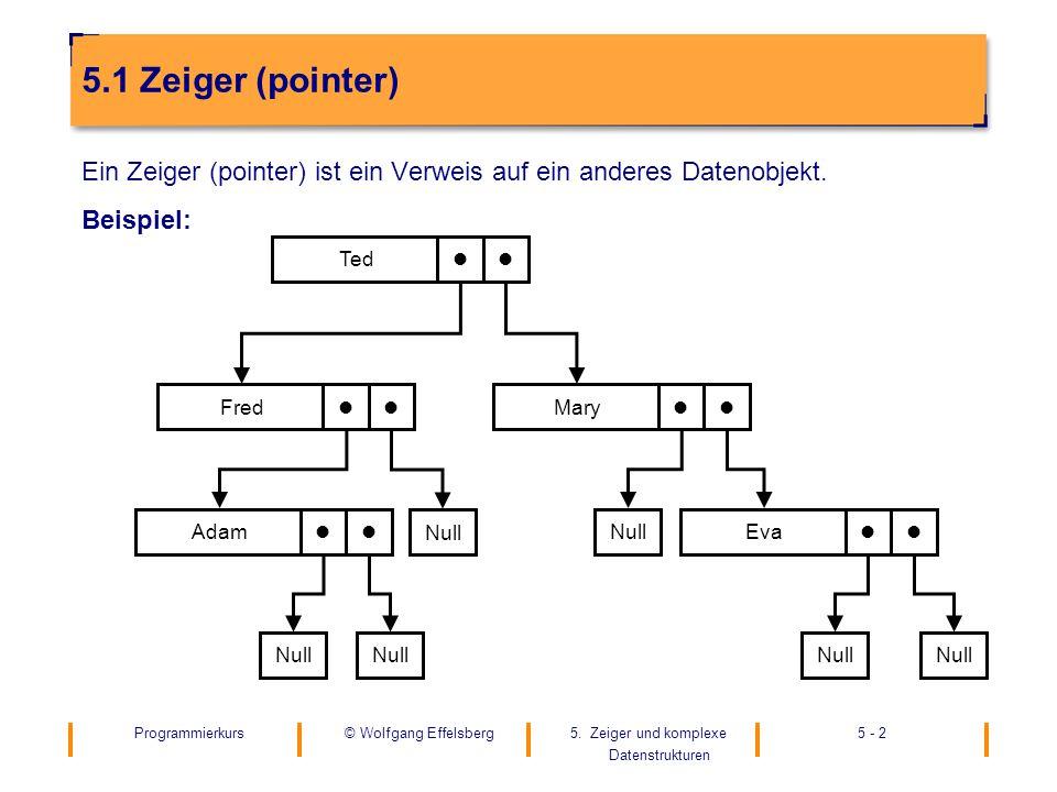 5.1 Zeiger (pointer) Ein Zeiger (pointer) ist ein Verweis auf ein anderes Datenobjekt. Beispiel: Ted.