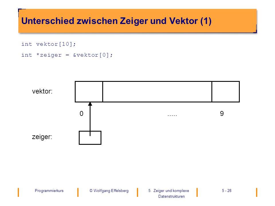 Unterschied zwischen Zeiger und Vektor (1)