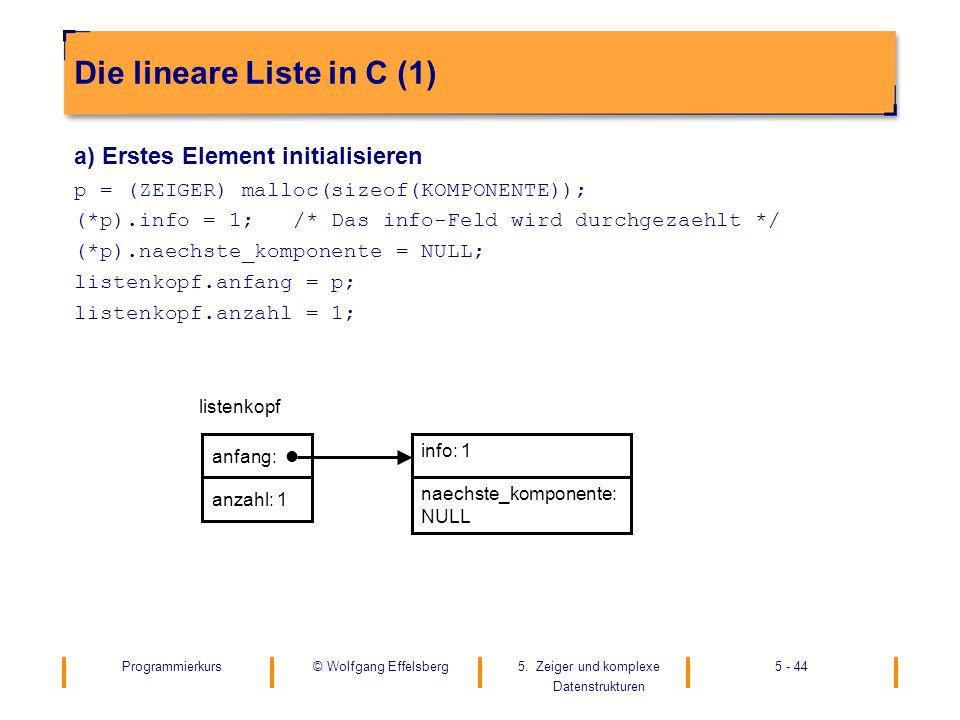 Die lineare Liste in C (1)