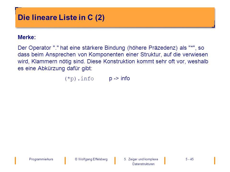 Die lineare Liste in C (2)