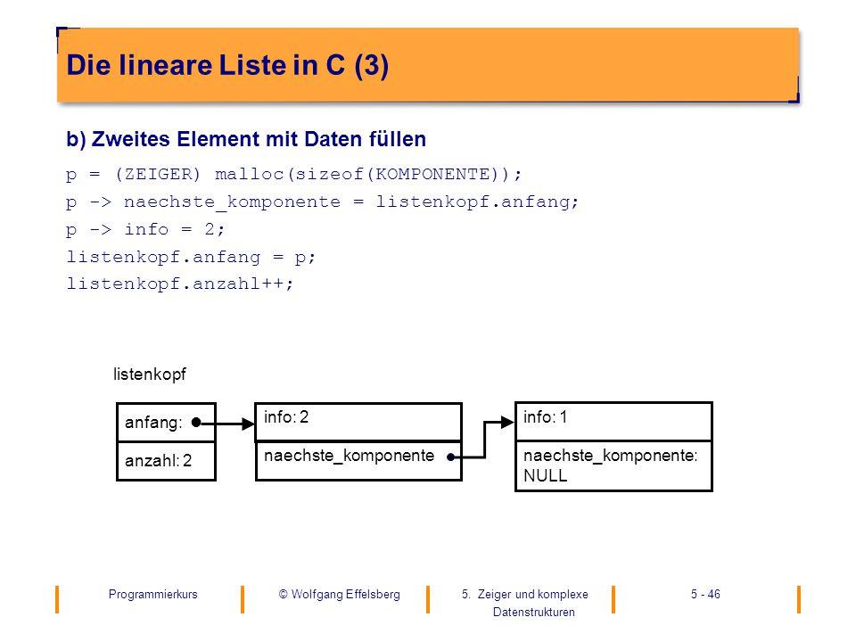 Die lineare Liste in C (3)
