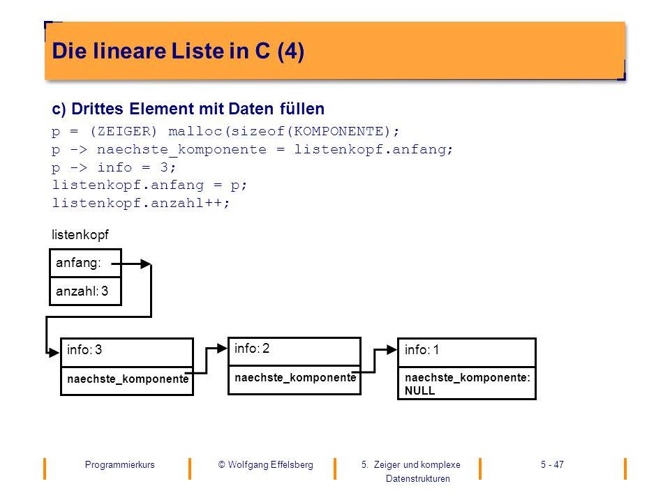 Die lineare Liste in C (4)