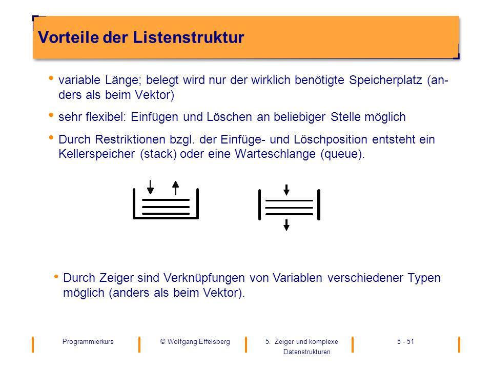 Vorteile der Listenstruktur