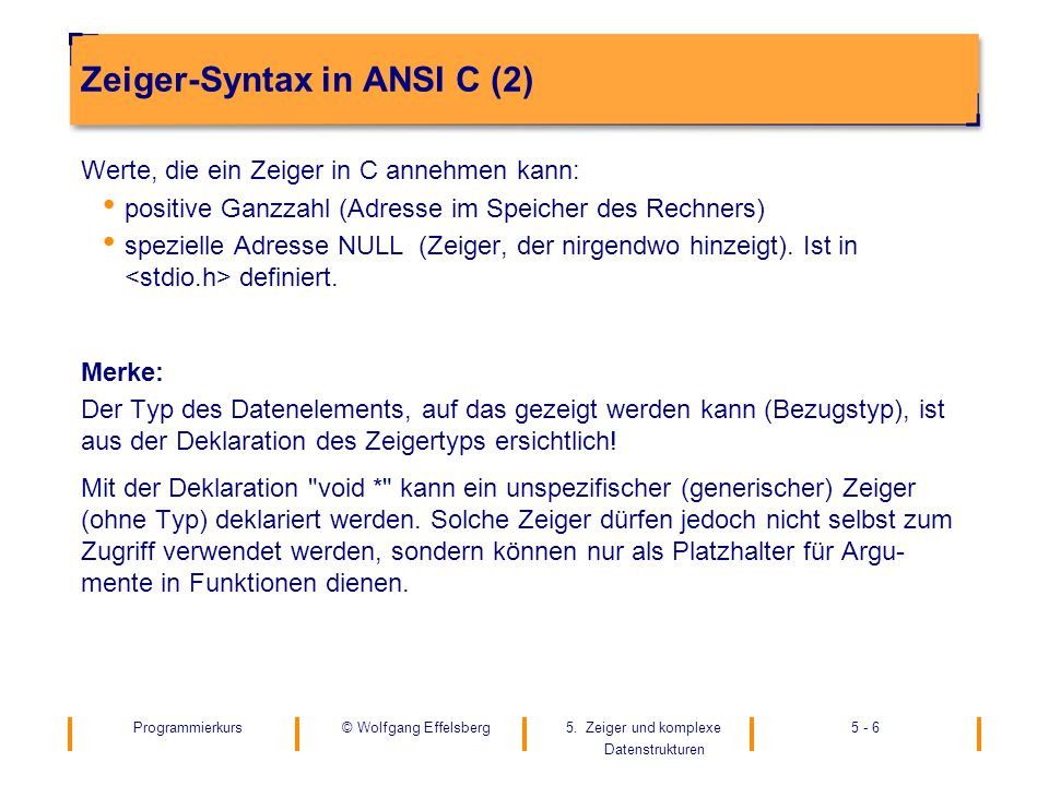 Zeiger-Syntax in ANSI C (2)