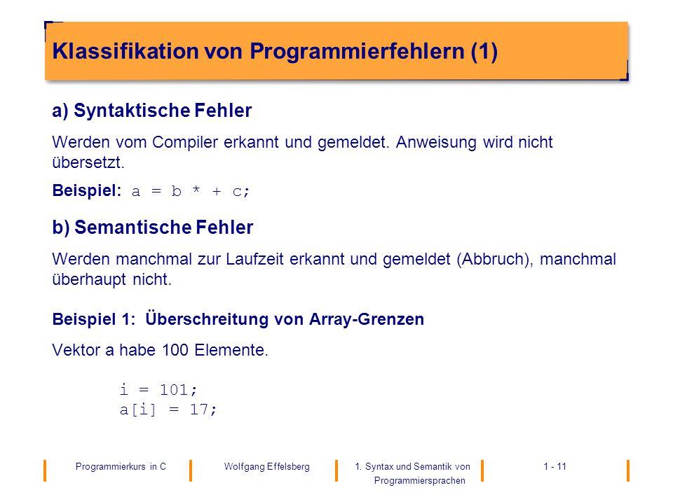 Klassifikation von Programmierfehlern (1)