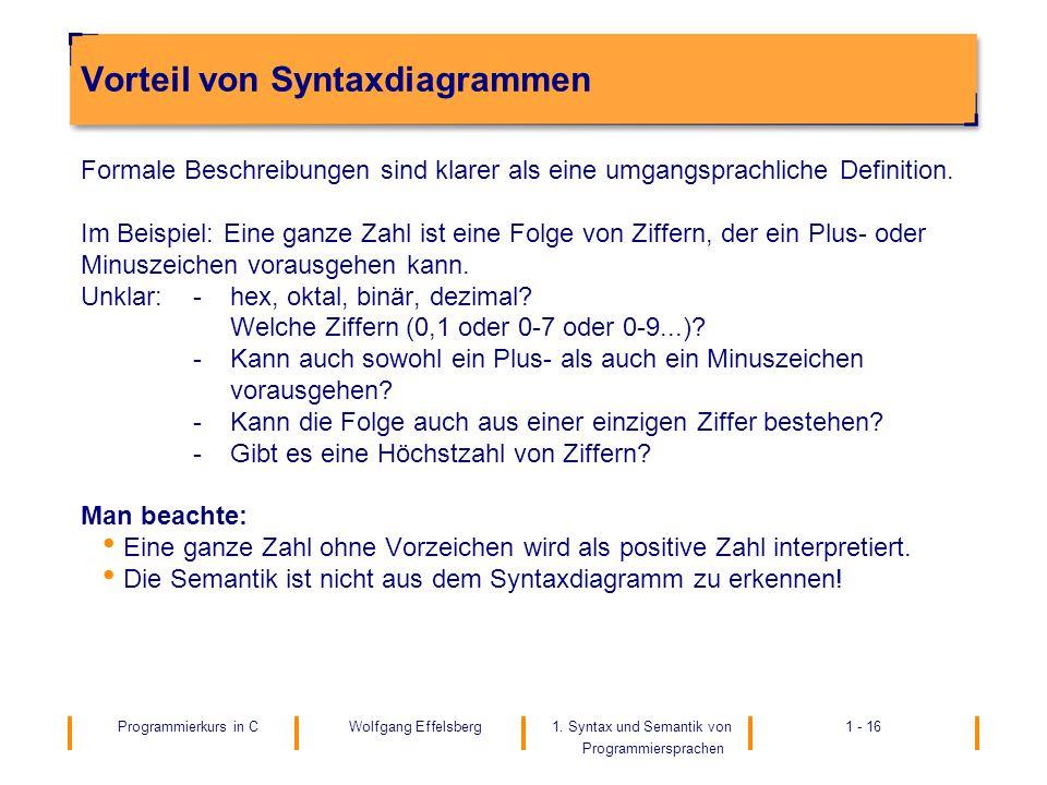 Vorteil von Syntaxdiagrammen