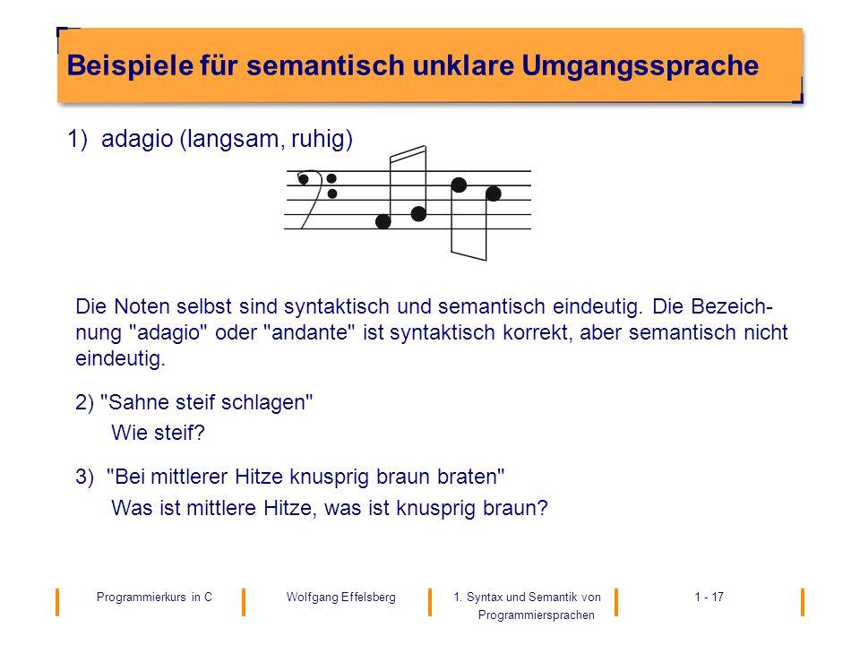 Beispiele für semantisch unklare Umgangssprache