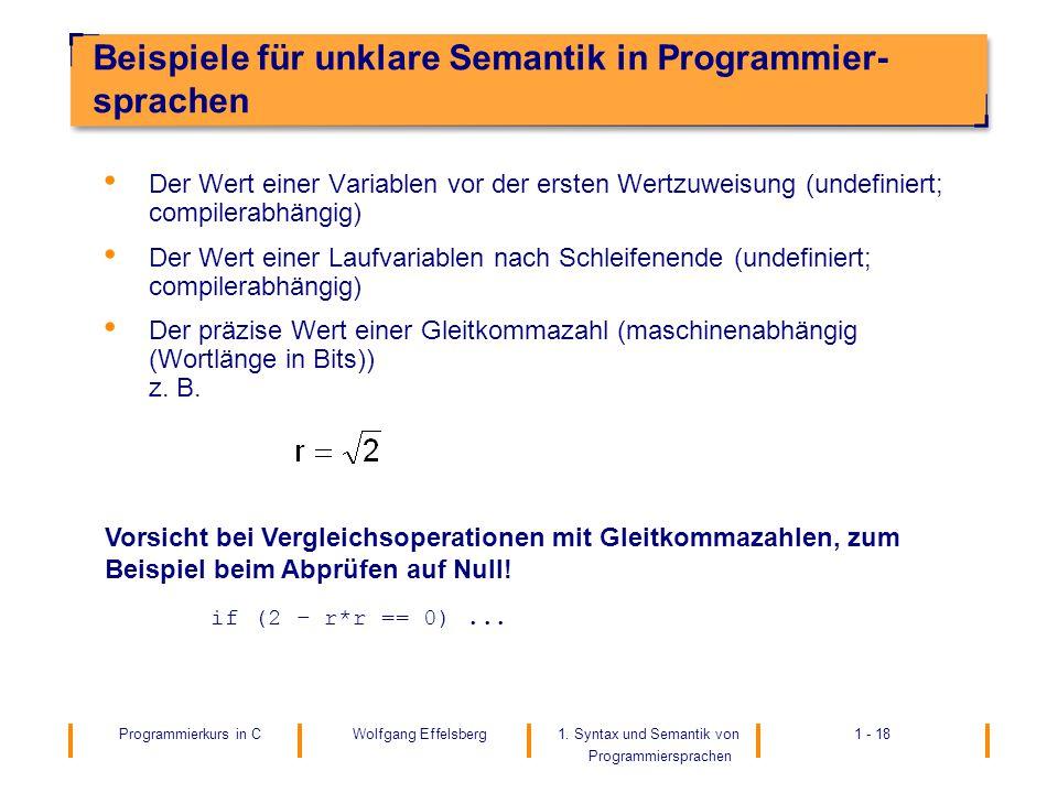 Beispiele für unklare Semantik in Programmier-sprachen