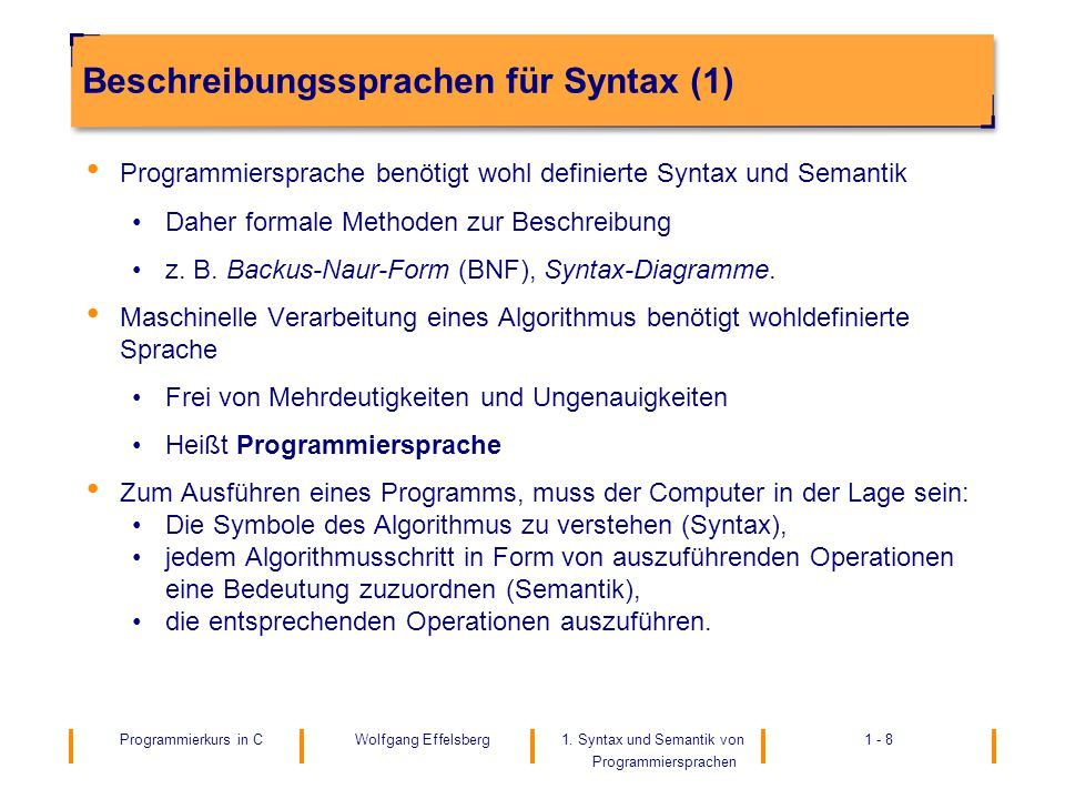 Beschreibungssprachen für Syntax (1)
