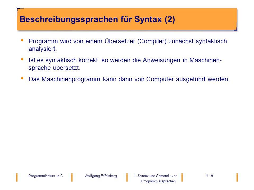 Beschreibungssprachen für Syntax (2)