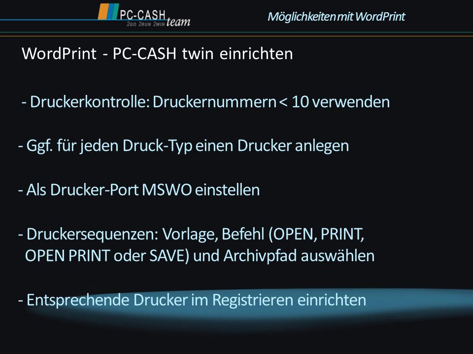 WordPrint - PC-CASH twin einrichten