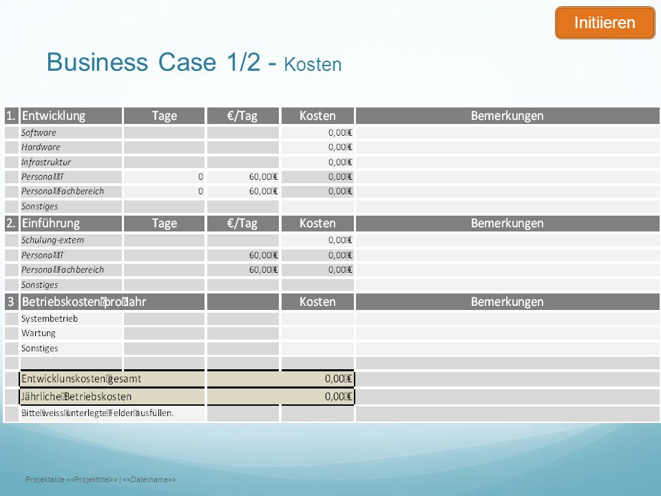 Business Case 1/2 - Kosten