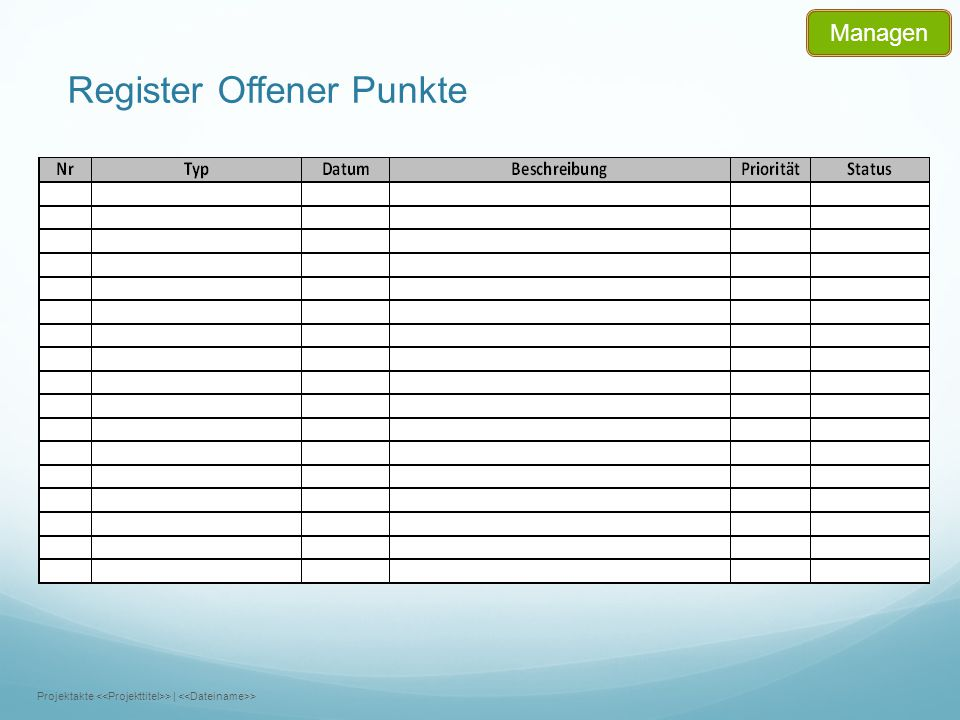 Register Offener Punkte