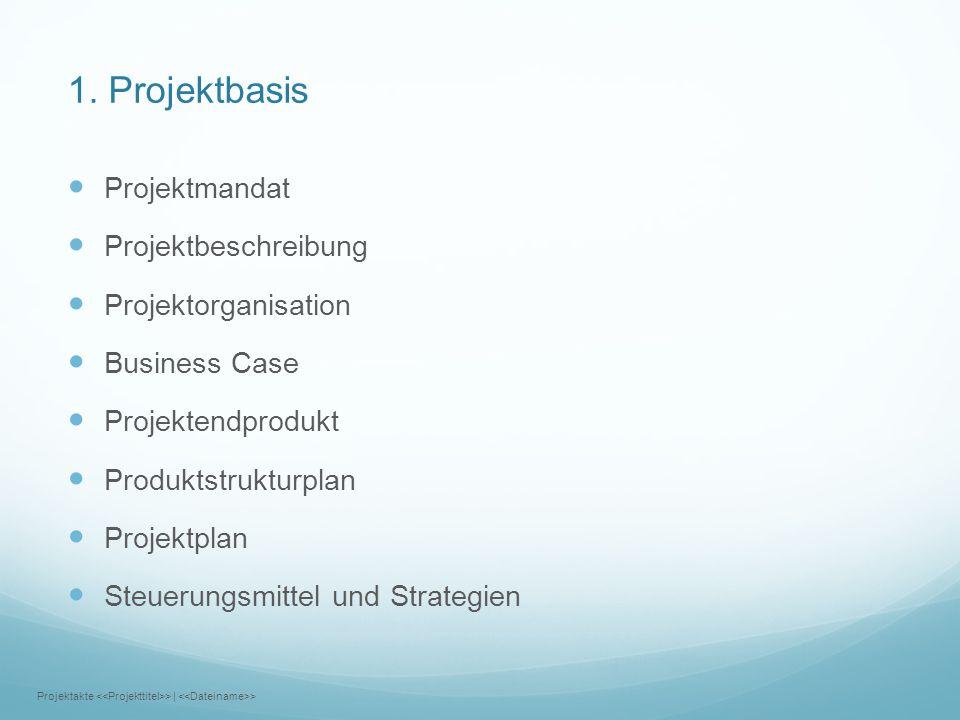 1. Projektbasis Projektmandat Projektbeschreibung Projektorganisation