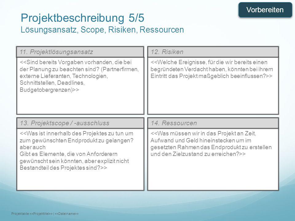 Projektbeschreibung 5/5 Lösungsansatz, Scope, Risiken, Ressourcen