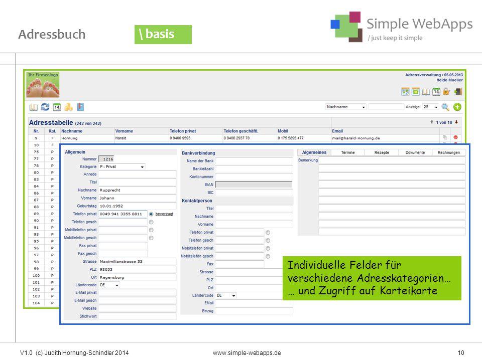 Adressbuch \ basis. Individuelle Felder für verschiedene Adresskategorien… … und Zugriff auf Karteikarte.