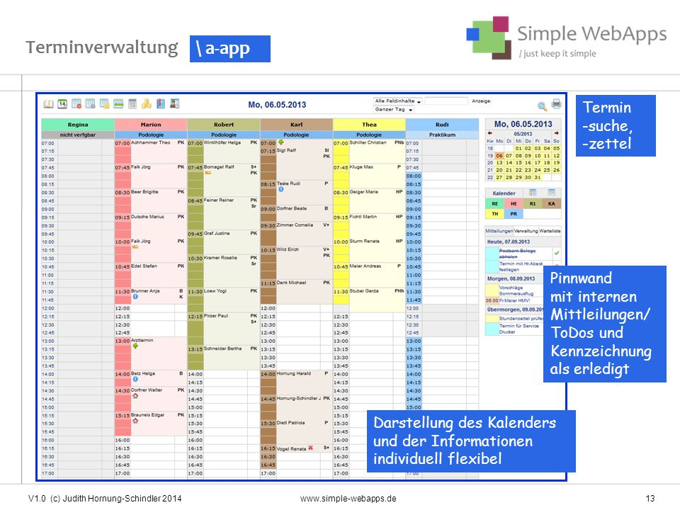 Terminverwaltung \ a-app Termin -suche, -zettel Pinnwand