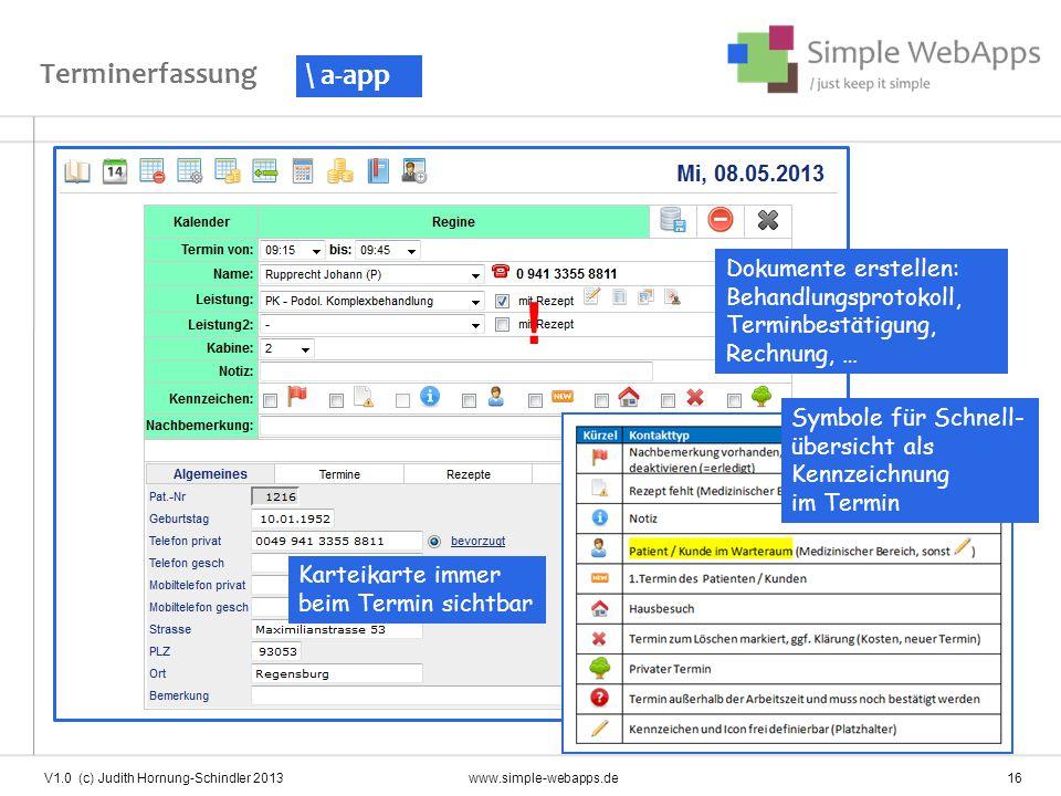 ! Terminerfassung \ a-app Dokumente erstellen: Behandlungsprotokoll,