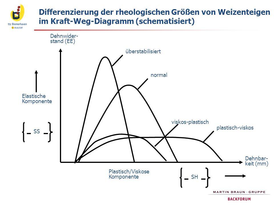 Differenzierung der rheologischen Größen von Weizenteigen im Kraft-Weg-Diagramm (schematisiert)