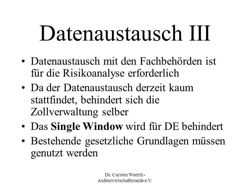 Dr. Carsten Weerth - Außenwirtschaftsrunde e.V.