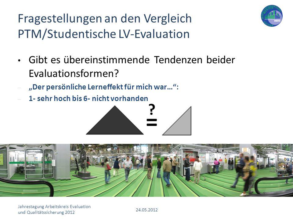Fragestellungen an den Vergleich PTM/Studentische LV-Evaluation