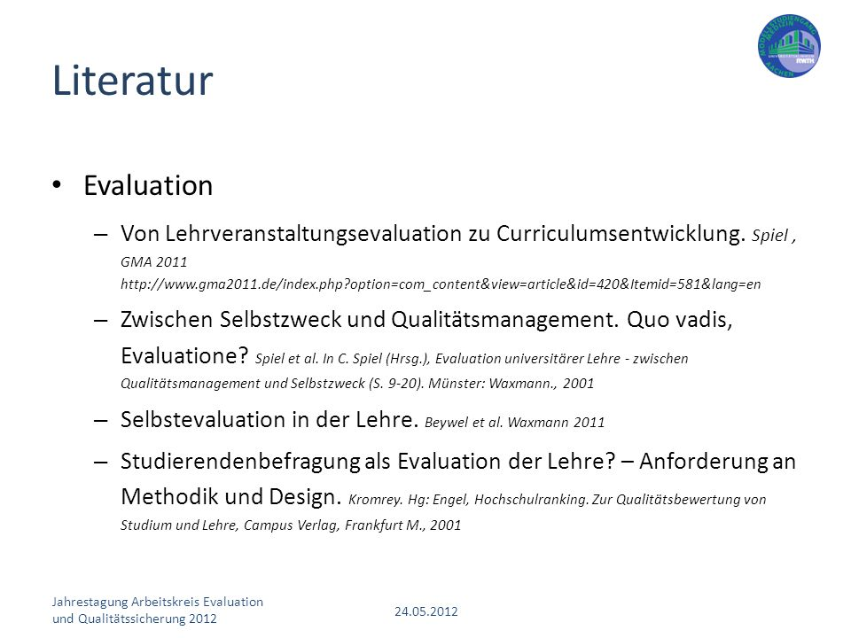 Literatur Evaluation.