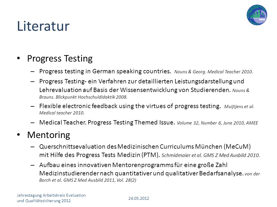 Literatur Progress Testing Mentoring