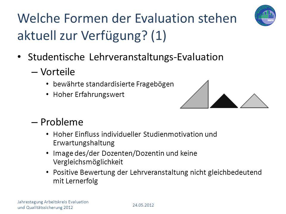 Welche Formen der Evaluation stehen aktuell zur Verfügung (1)