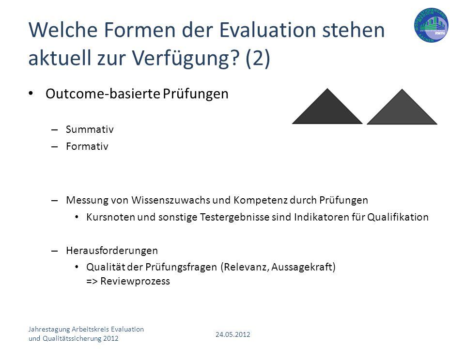 Welche Formen der Evaluation stehen aktuell zur Verfügung (2)