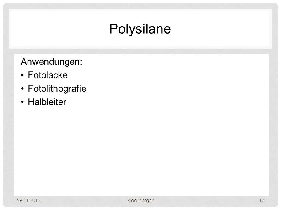 Polysilane Anwendungen: Fotolacke Fotolithografie Halbleiter