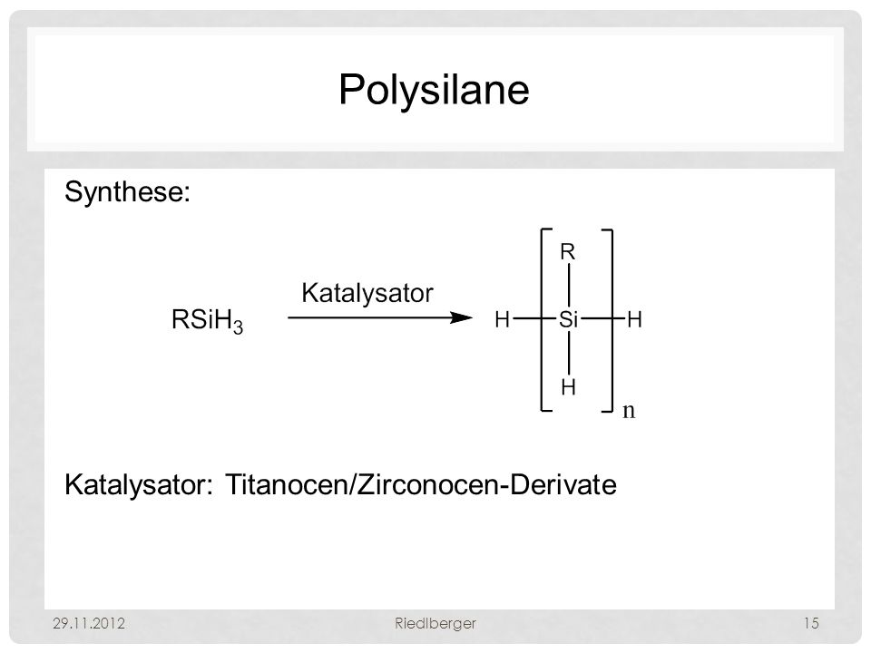 Polysilane Synthese: Katalysator: Titanocen/Zirconocen-Derivate