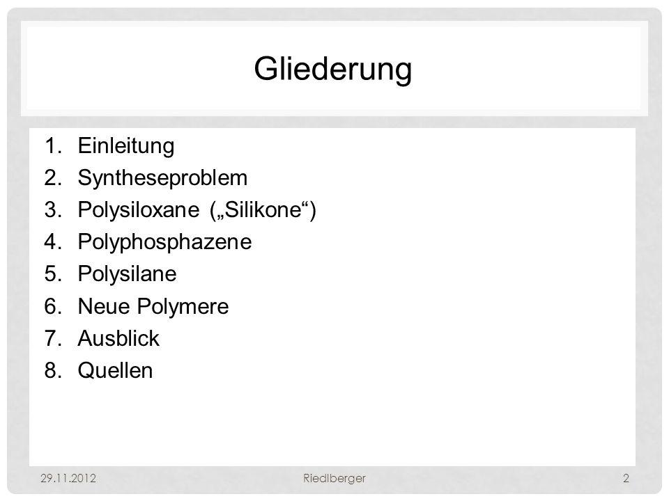 "Gliederung Einleitung Syntheseproblem Polysiloxane (""Silikone )"