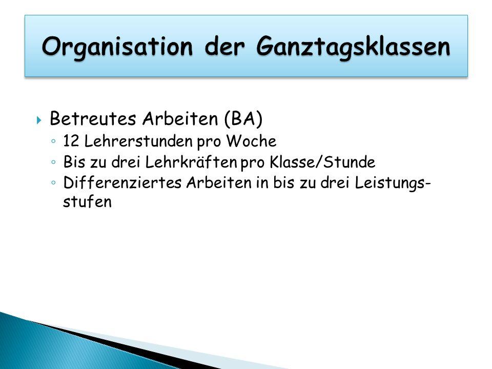 Organisation der Ganztagsklassen