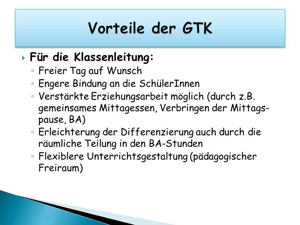 Vorteile der GTK Für die Klassenleitung: Freier Tag auf Wunsch