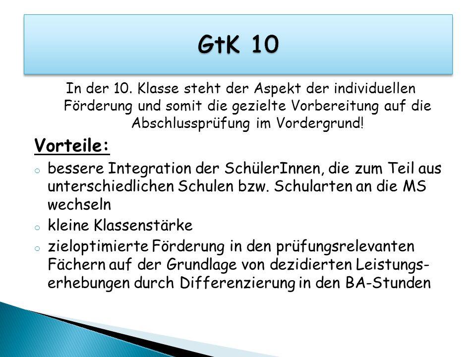 GtK 10 In der 10. Klasse steht der Aspekt der individuellen Förderung und somit die gezielte Vorbereitung auf die Abschlussprüfung im Vordergrund!
