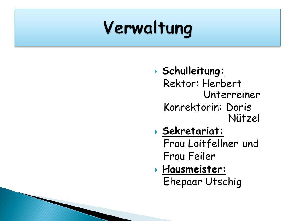 Verwaltung Schulleitung: Rektor: Herbert Unterreiner