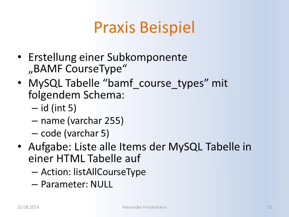 """Praxis Beispiel Erstellung einer Subkomponente """"BAMF CourseType"""