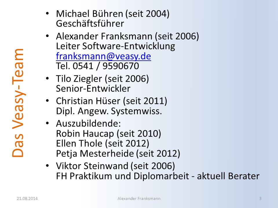 Das Veasy-Team Michael Bühren (seit 2004) Geschäftsführer